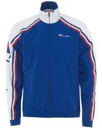 Champion Europe Zip Through Striped Track Jacket, Blue & White
