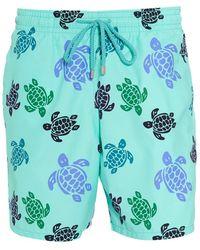 Vilebrequin Moorea Swim Shorts, Blue Large Turtle Print Swimming Trunks