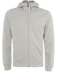 BOSS by Hugo Boss Saggy Hooded Sweatshirt, Striped Logo Hoodie - Grey