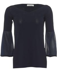 Blue Womans Bell Sleeve SweaterStriped 34 Navy Sweater yY7gbf6v