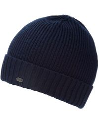 BOSS - C-fati2 Beanie, Ribbed Wool Navy Blue Hat - Lyst
