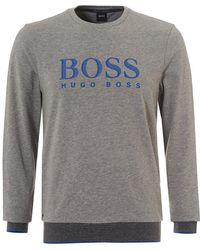 BOSS Sweatshirt Rn, Crew Neck Logo Grey Sweat - Gray