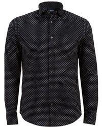 Armani Jeans - Black Micro Eagle Logo Print Shirt - Lyst