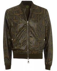 Versace All Over Tile Bomber, Khaki Green Jacket