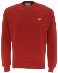 AMI Patch Smiley Sweatshirt, Red Regular Fit Sweat