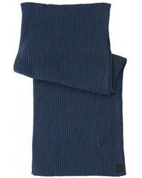 BOSS - Ariffeno Ribbed Mouliné Cotton Blend Blue Scarf - Lyst