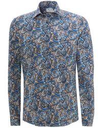 Stenstroms Blue All-over Paisley Slimline Shirt