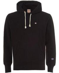 Champion - Reverse Weave Hoodie, Black Hooded Sweat - Lyst