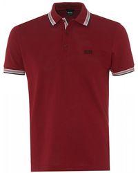 BOSS Paddy Polo, Regular Fit Rhubarb Red Polo Shirt