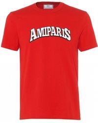 AMI Paris Print T-shirt, Red Regular Fit Tee