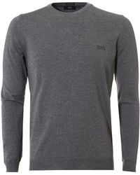 BOSS Black - Botto-l Sweater, Merino Wool Grey Melange Sweater - Lyst