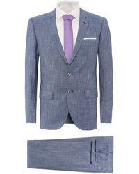 BOSS Hutson5/gander3 Blue Melange Slim Fit Sheen Suit