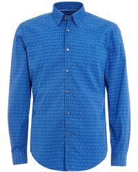 BOSS - Rodney Shirt, Slim Fit Geo Print Blue Shirt - Lyst