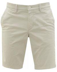 BOSS Liem 4 Light Beige Stretch Fabric Shorts - Natural