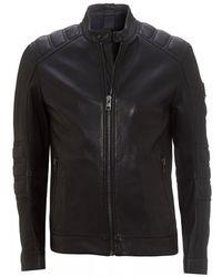BOSS Jagson2 Black Leather Biker Jacket