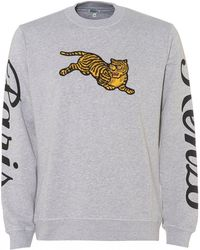 KENZO - Jumping Tiger Sweatshirt, Pearl Grey Crew Neck Sweat - Lyst