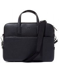 BOSS - Crosstown_s Doc Case Black Leather Shoulder Bag - Lyst