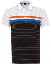 BOSS Paddy 3 Polo Shirt, Fine Stripe Black Polo
