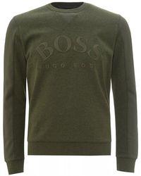 BOSS Salbo Curved Logo Sweatshirt, Olive Green Jumper