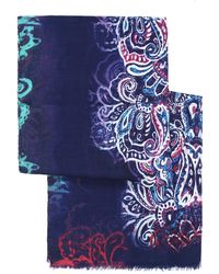 Etro - African Style Pattern Blue Scarf - Lyst