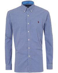 Ralph Lauren - Gingham Navy Poplin Shirt, Long Sleeve Stretch Shirt - Lyst