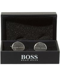 BOSS by Hugo Boss Dani Polka Dot Silver Cufflinks - Metallic