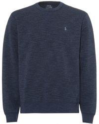 Ralph Lauren - Plain Logo Sweatshirt, Navy Blue Crew Neck Sweat - Lyst