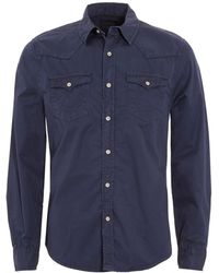 True Religion - Jake Western Style Slim Fit Navy Blue Shirt - Lyst