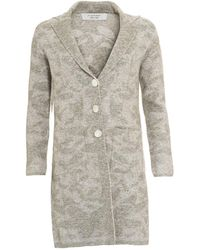 D. EXTERIOR - Coat, Floral Print Gray Knitted Jersey Jacket - Lyst