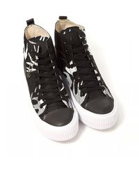 McQ High Top Swallow Plimsoll Shoes, Black & White Trainers