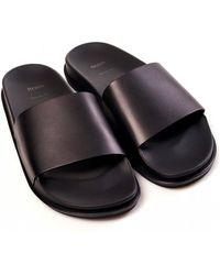 BOSS Cliff Slider Leather Slides - Black