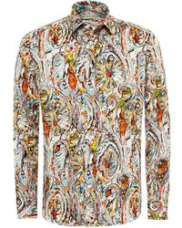 Etro - New Tattoo & Multi Print Shirt, Regular Fit Multi Coloured Shirt - Lyst