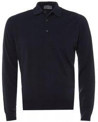John Smedley Midnight Blue Belper Woolen Polo Shirt