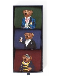 Polo Ralph Lauren 3-pack Box Green/blue/wine Polo Bear Socks