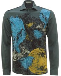 Etro - Blue/green Dragon Print Shirt - Lyst