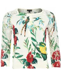 Armani Jeans - Crew Neck Cotton Cardigan With Flower Print - Lyst