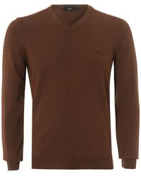 BOSS Black - Baram-l Sweater, V-neck Cinnamon Red Sweater - Lyst