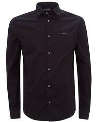 Emporio Armani Emporio Long Sleeved Logo Shirt - Black