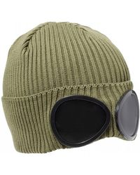 C P Company Large Goggle Beanie, Olive Green Hat