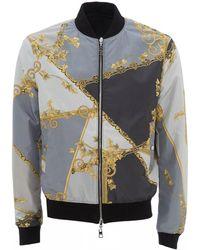 Versace Pastel Eye Print Bomber, Gray Jacket