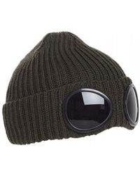 C P Company - Goggle Lens Beanie, Ribbed Dark Olive Green Hat - Lyst