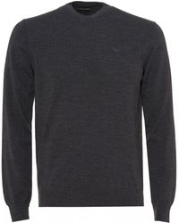 Emporio Armani Embroidered Logo Sweater, Charcoal Black Regular Fit Sweater - Gray
