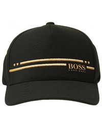 BOSS Cap-stripe Cap, Black Gold Hat