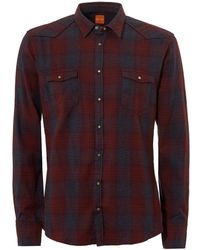 BOSS by Hugo Boss - Erodeo Western Checked Burgundy Shirt - Lyst
