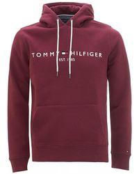 Tommy Hilfiger Organic Cotton Blend Logo Hoodie, Burgundy Red Sweatshirt