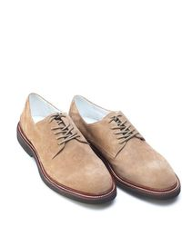 Armani Jeans - Shoes, Beige Suede Leather Lace Up Derby - Lyst