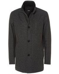 BOSS Camron Wool Blend Charcoal Grey Coat - Gray