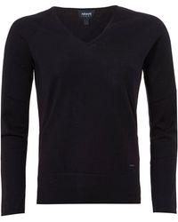 Armani Jeans - Basic V-neck Jumper, Navy Blue Sweater - Lyst
