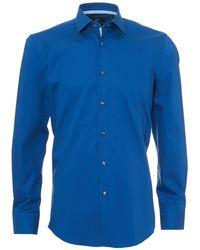 BOSS Jesse Shirt, Geometric Print Trim Slim Fit Royal Blue Shirt