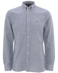 Tommy Hilfiger Navy Gingham Check Cotton Shirt - Blue